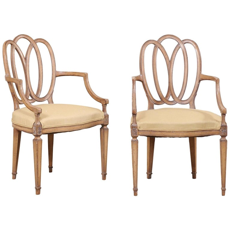 Italian Pair of Carved-Wood Armchairs with Upholstered Seats, Mid-20th Century For Sale
