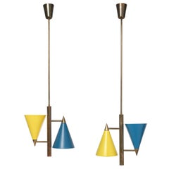 Italian Pair of Celling Lamps, 1950s