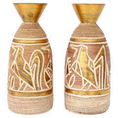 Italian Pair of Ceramic Incised Abstract Bird Motif Vases Attributed to Bitossi