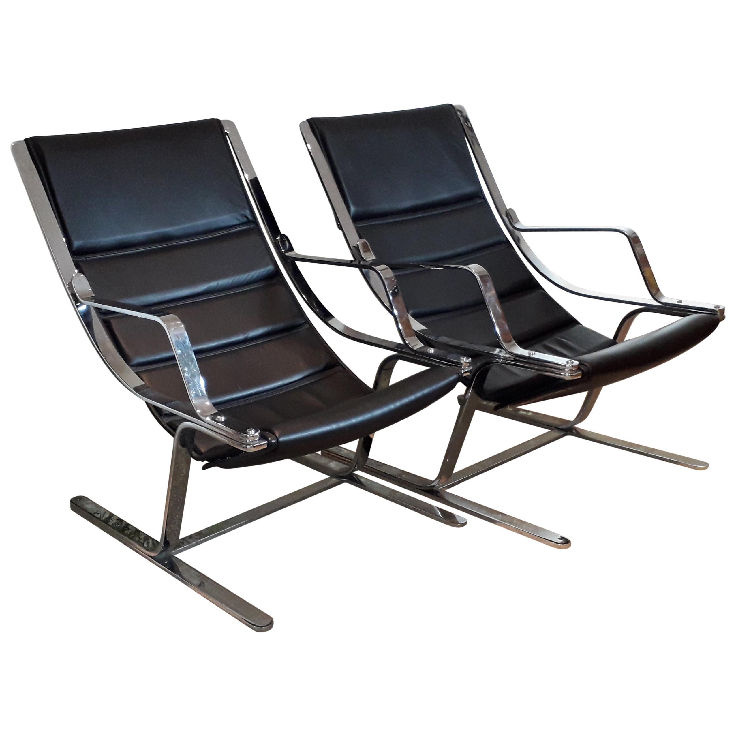 Italian Pair of Chrome & Leather Armchairs