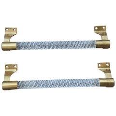 Italian Pair of Door Handles 1940 Braid Murano Glass Brass Metal Silver