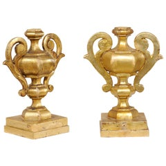Italian Pair of Elegant Giltwood Two-Handled Urn Fragments, 19th Century