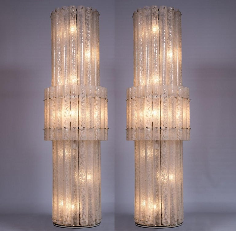 Italian Pair of Floor Lamps in Blown Murano Glass with White Waves, Contemporary For Sale 11