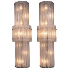 Italian Pair of Floor Lamps in Blown Murano Glass with White Waves, Contemporary