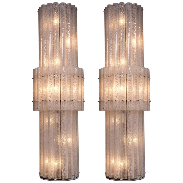 Italian Pair of Floor Lamps in Blown Murano Glass with White Waves, Contemporary For Sale
