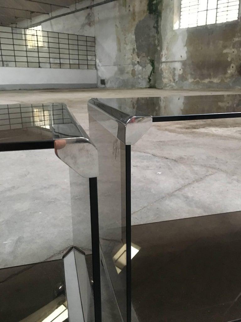 Italian Pair of Gallotti e Radice Carts with Smoked Glass and Chrome ...