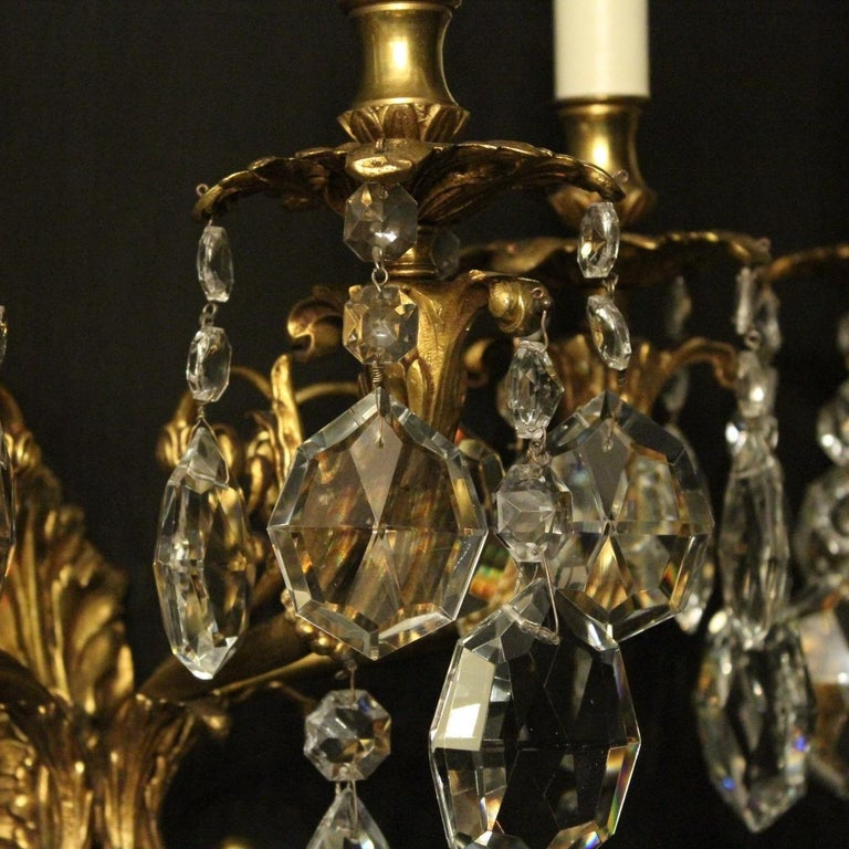 20th Century Italian Pair of Gilded Bronze and Crystal Antique Wall Lights For Sale