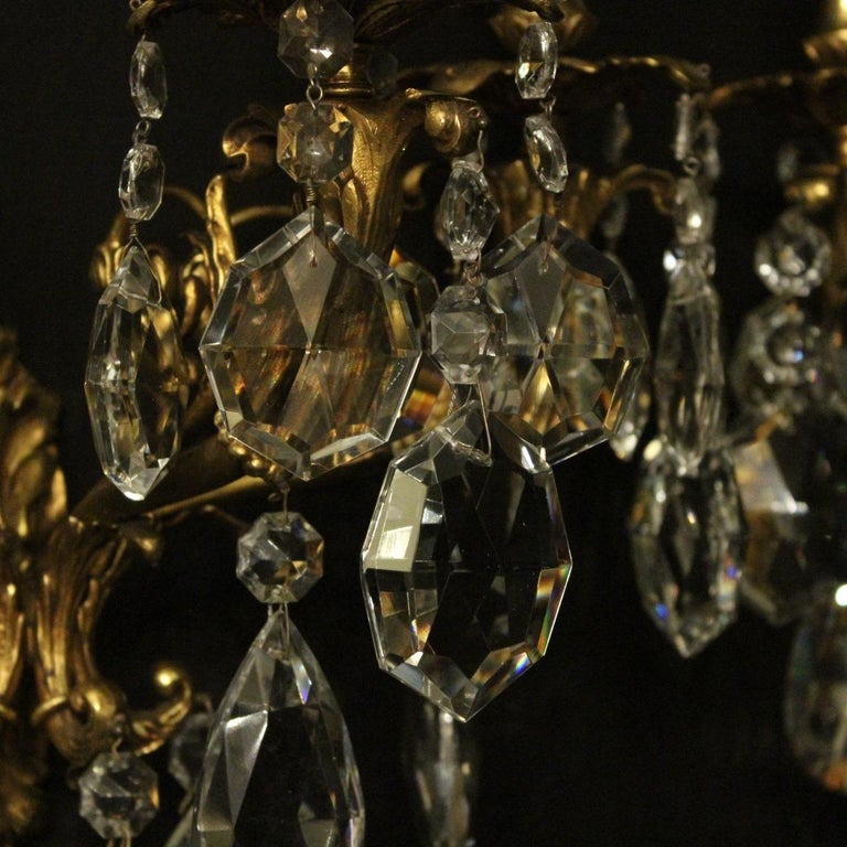 Italian Pair of Gilded Bronze and Crystal Antique Wall Lights For Sale 4
