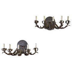 Italian Pair of Gilt Iron and Metal 5-Light Wall Appliques, 17th-18th Century