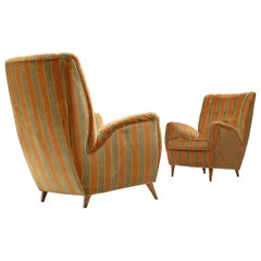 Italian Pair of High Back Chairs in Green and Orange Striped Upholstery