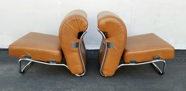 Mid-20th Century Italian Pair of Lather Chairs For Sale