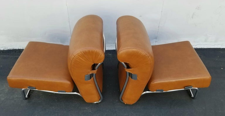 Leather Italian Pair of Lather Chairs For Sale