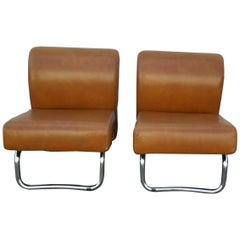 Italian Pair of Lather Chairs