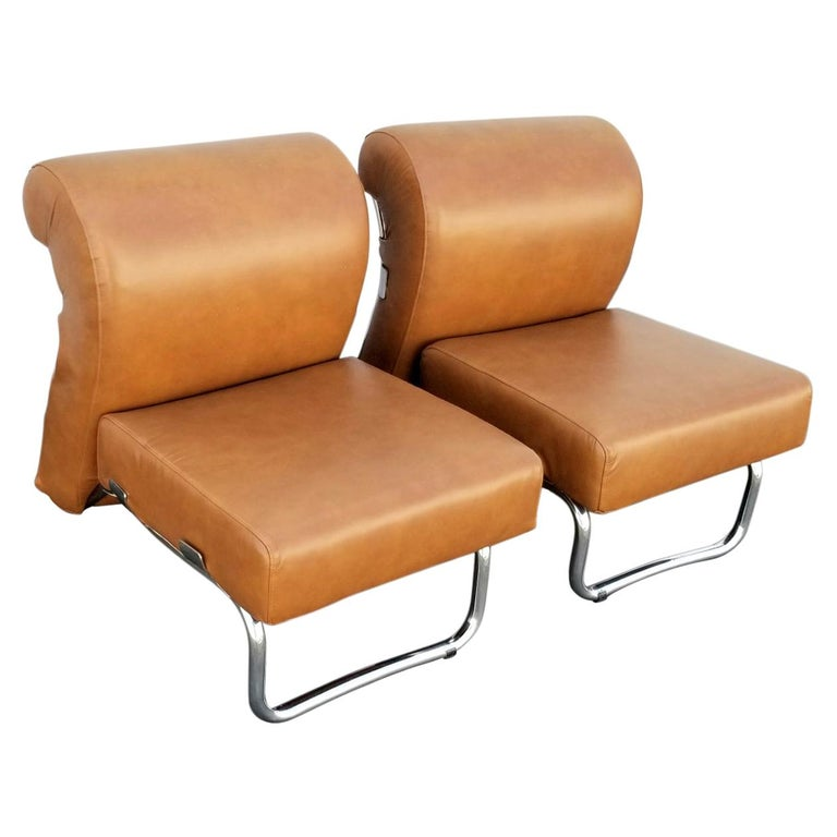 Italian Pair of Lather Chairs For Sale