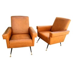 Italian Pair of Lounge Chairs