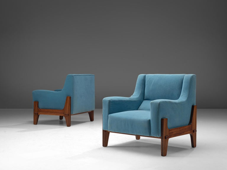 Eugenia & Luigi Reggio, set of two lounge chairs, rosewood, bright blue fabric, Italy, 1950s.