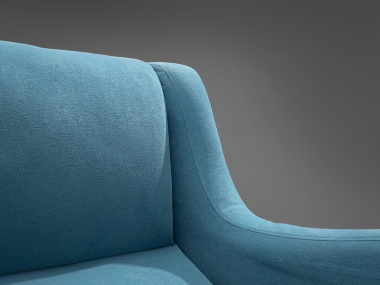 Mid-20th Century Italian Pair of Lounge Chairs in Bright Blue Upholstery