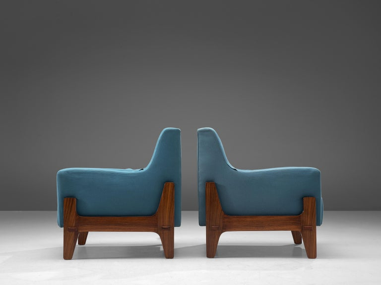 Rosewood Italian Pair of Lounge Chairs in Bright Blue Upholstery