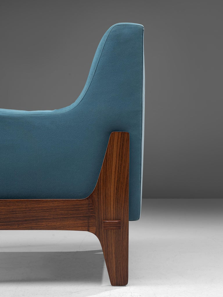 Italian Pair of Lounge Chairs in Bright Blue Upholstery 2