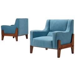 Italian Pair of Lounge Chairs in Bright Blue Upholstery