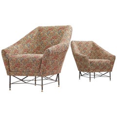 Italian Pair of Lounge Chairs in Floral Upholstery