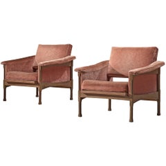 Italian Pair of Lounge Chairs in Pink Velvet