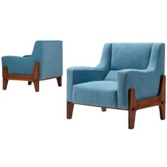 Italian Pair of Lounge Chairs in Walnut and Sky Blue Upholstery
