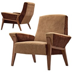 Italian Pair of Lounge Chairs with a High Back