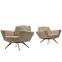 Italian Pair of Lounge Chairs with Classic Upholstery