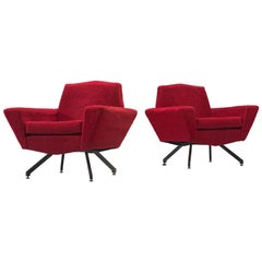 Italian Pair of Lounge Chairs with Red Upholstery