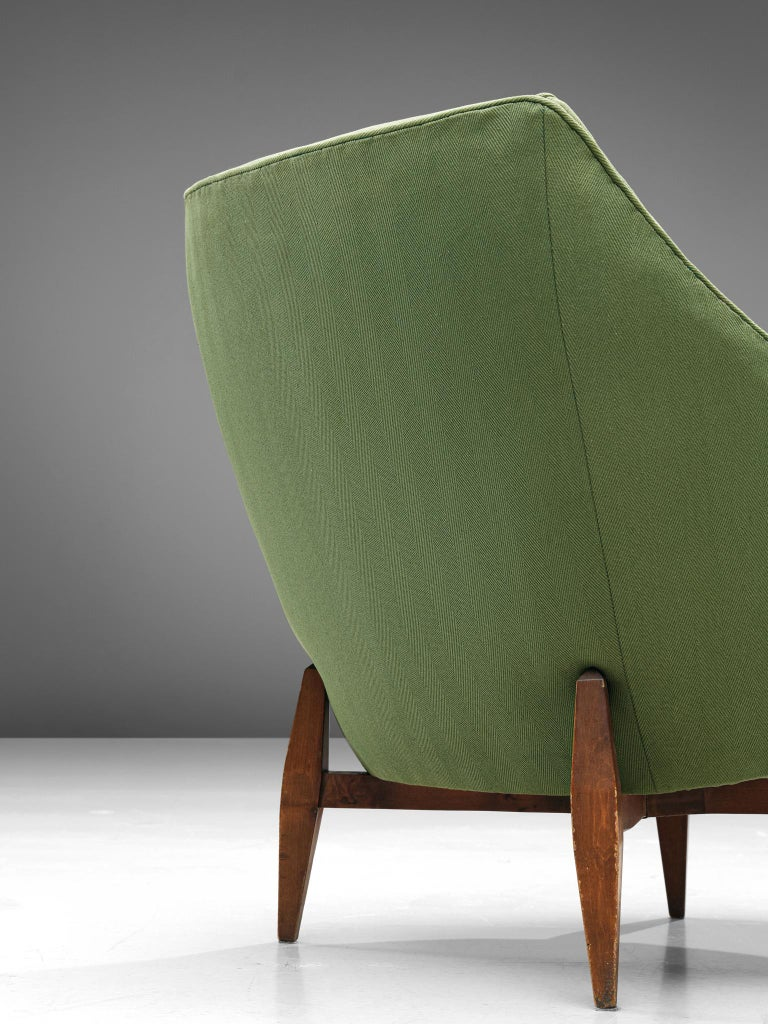 Fabric Italian Pair of Lounge Chairs with Soft Green Upholstery For Sale