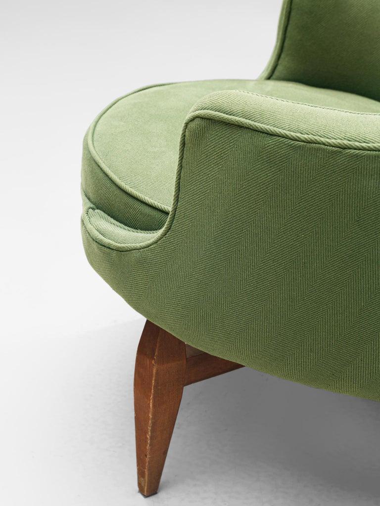 Italian Pair of Lounge Chairs with Soft Green Upholstery For Sale 1