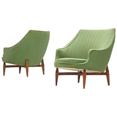 Italian Pair of Lounge Chairs with Soft Green Upholstery