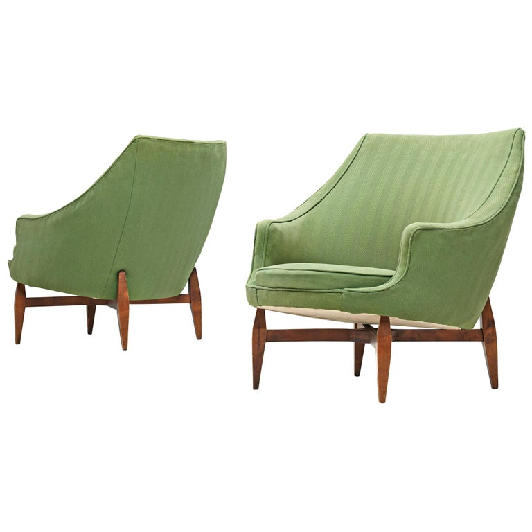 Italian Pair of Lounge Chairs with Soft Green Upholstery For Sale