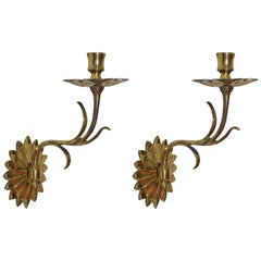 Italian Pair of Mid 20th Century Metal and Brass Sconces