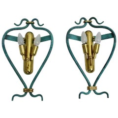 Italian Pair of Mid-Century Modern Vintage Blue Sconces with Brass Details, 1960