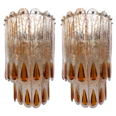 Italian Pair of Midcentury Amber Murano Glass Wall Sconce by Mazzega, 1970s