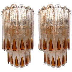 Italian Pair of Midcentury Pair of Murano Glass Wall Sconces by Mazzega, 1970s