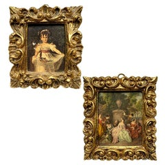 Italian Pair of Mini Giltwood Framed Pastoral Prints after Degas