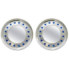 Italian Pair of Modern Nickel Round Mirrors with Jewel Like Blue Murano Glass