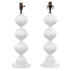 Italian Pair of Murano Hand-Blown Glass Table Lamps, White Glass