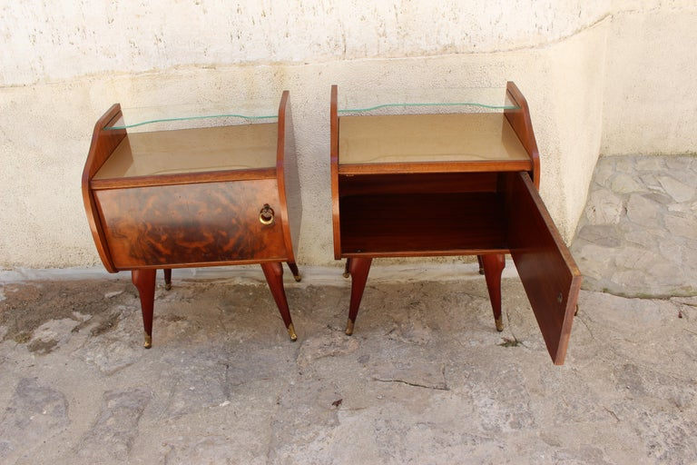 Rosewood Italian Pair of Nightstands Attributed to Paolo Buffa For Sale