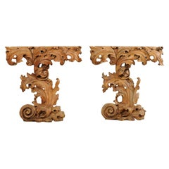 "Italian Pair of Ornately-Carved Scrolling Acanthus Leaf ""Skinny"" Console Tables"