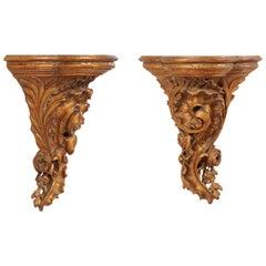 Italian Pair of Ornately-Carved Wood Shelves in Gold