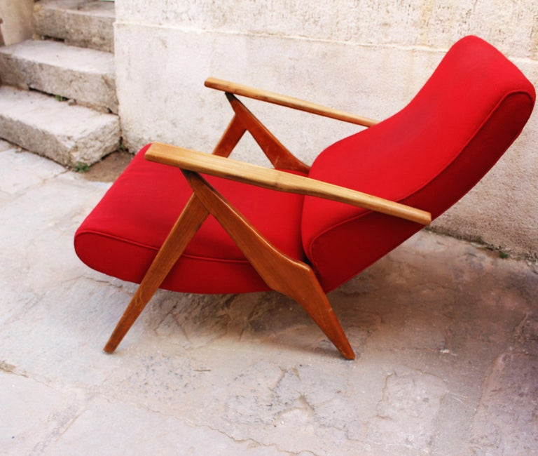 Mid-Century Modern Italian Pair of Recliner Chairs by Antonio Gorgone For Sale