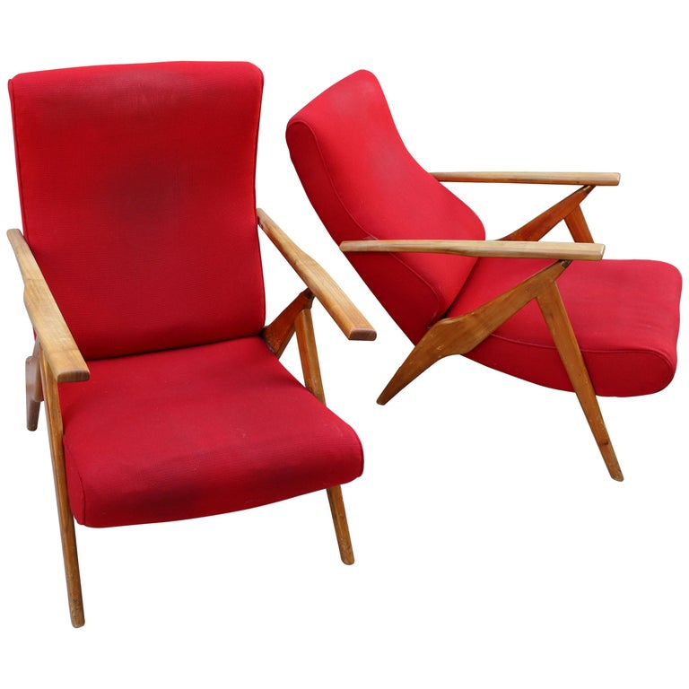 Italian Pair of Recliner Chairs by Antonio Gorgone For Sale
