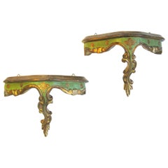Italian Pair of Rococo Style Polychrome Parcel-Gilt Carved Wood Wall Brackets