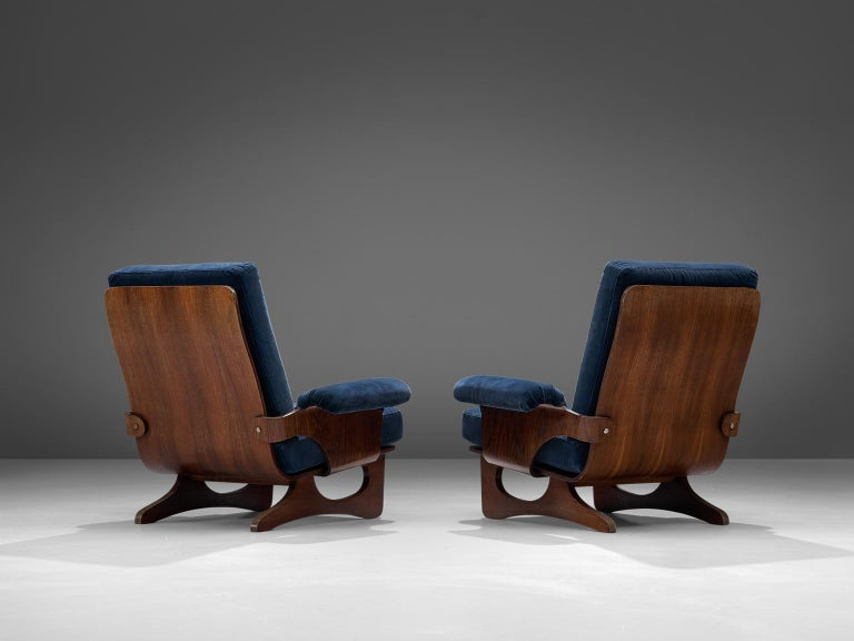 Mid-20th Century Italian Pair of Rosewood Lounge Chairs in Blue Velvet For Sale
