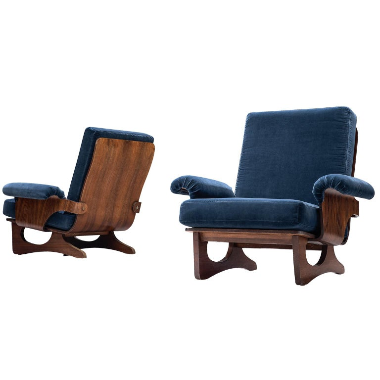 Italian Pair of Rosewood Lounge Chairs in Blue Velvet For Sale