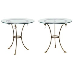 Italian Pair of Round Brass Tables with Hooved Feet and Glass Tops